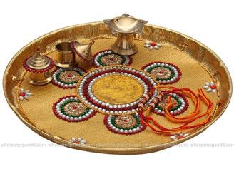 Raksha Bandhan Special Rakhi Thali - Tricolor Bead Rakhi Thali