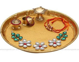 Raksha Bandhan Special Rakhi Thali - Crystal Flower Rakhi Thali