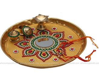 Raksha Bandhan Special Rakhi Thali - Tricolor Flower Rakhi Thali